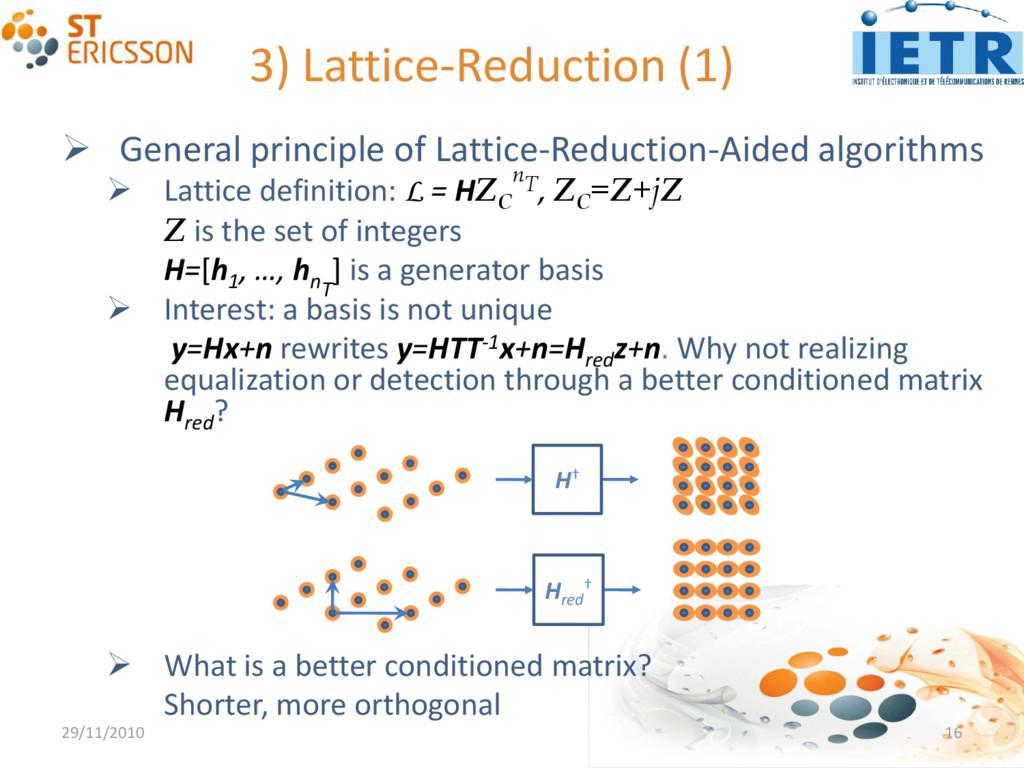 3) Lattice-Reduction (1)  General principle of...