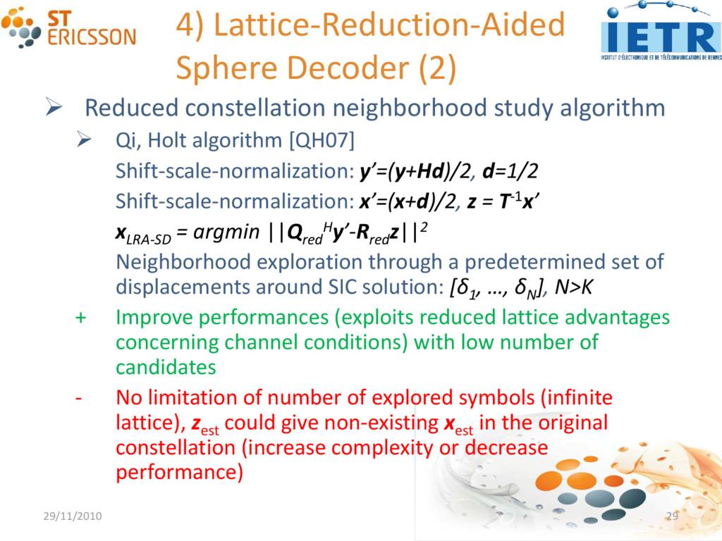 4) Lattice-Reduction-Aided Sphere Decoder (2) ...