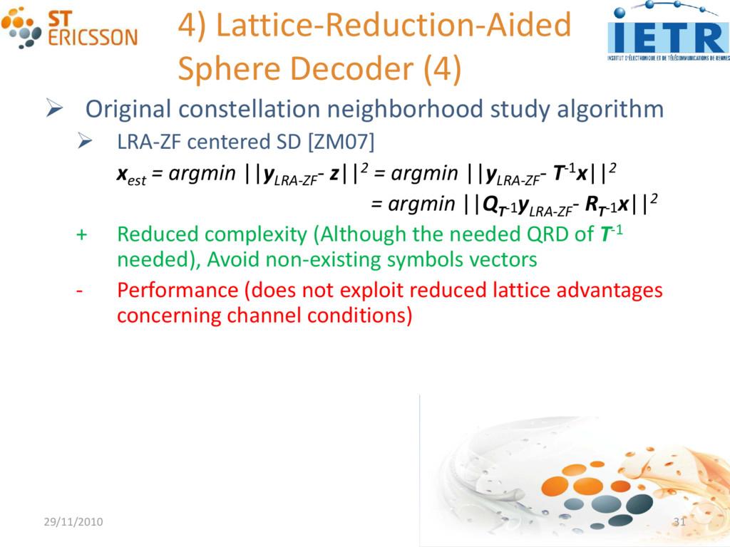 4) Lattice-Reduction-Aided Sphere Decoder (4) ...