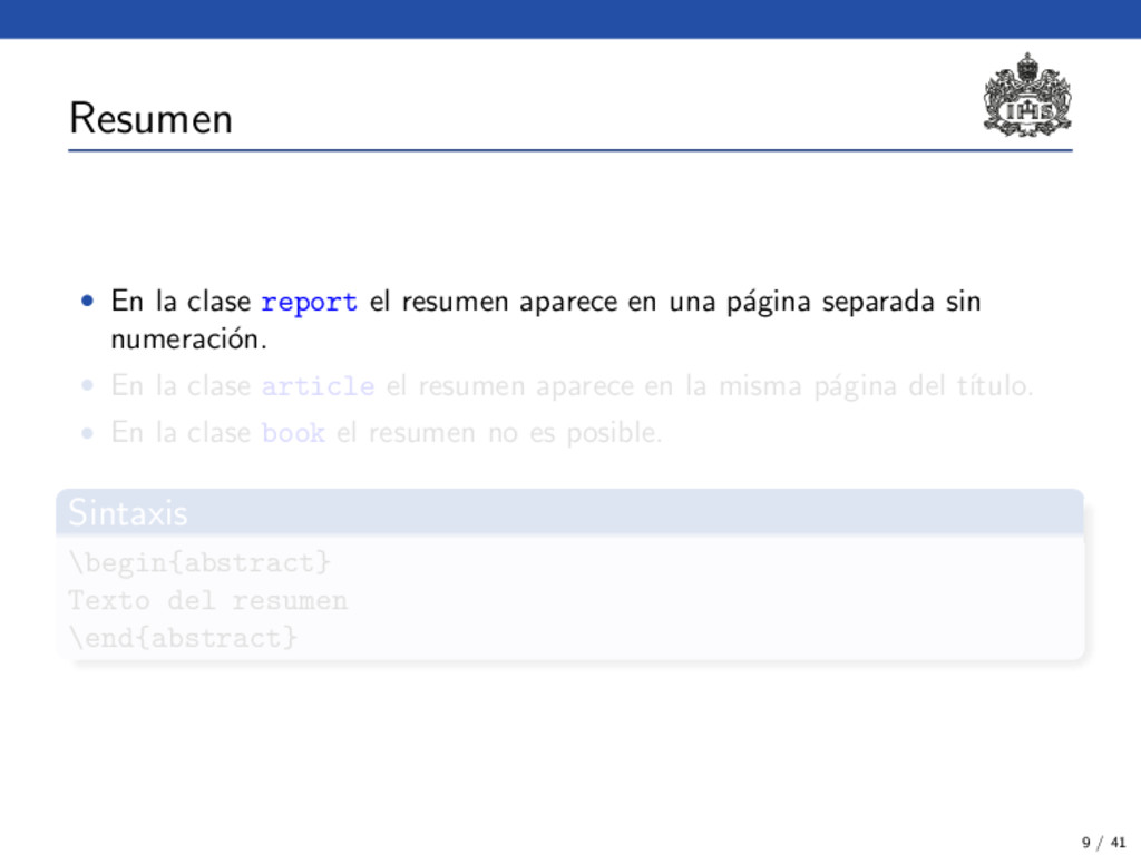 Resumen • En la clase report el resumen aparece...