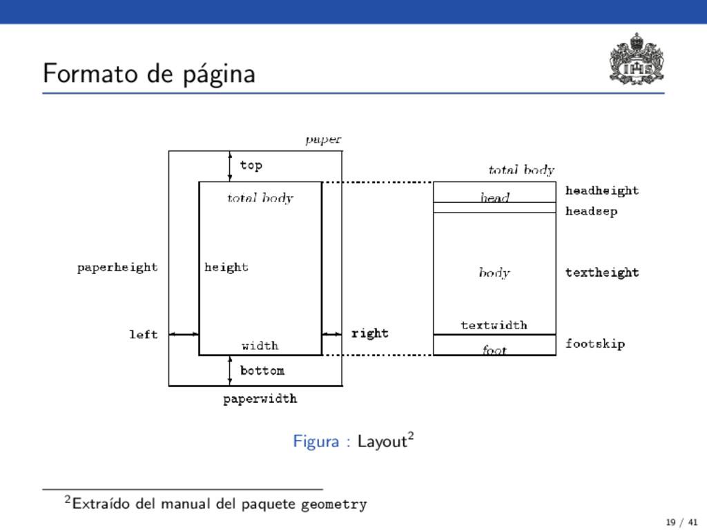 Formato de p´ agina Figura : Layout2 2Extra´ ıd...