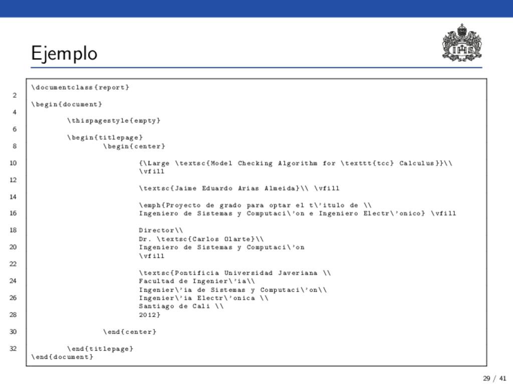 Ejemplo \ documentclass {report} 2 \begin{docum...
