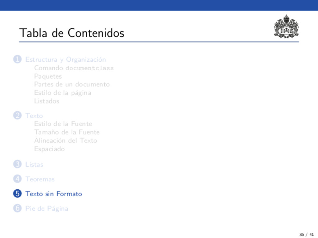 Tabla de Contenidos 1 Estructura y Organizaci´ ...