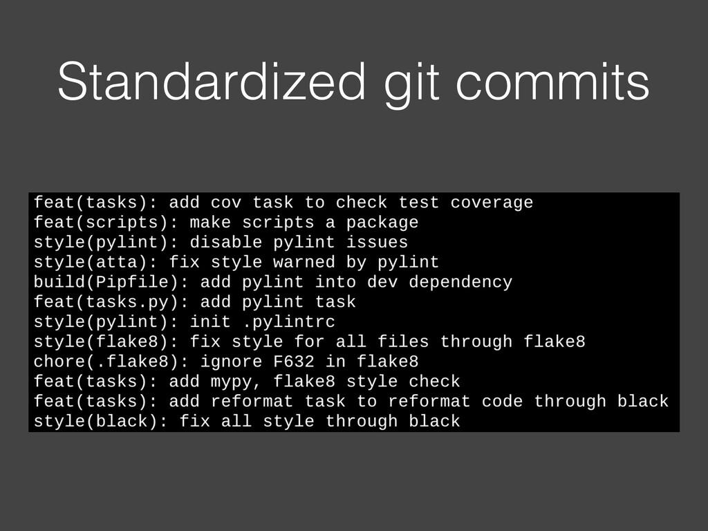 Standardized git commits