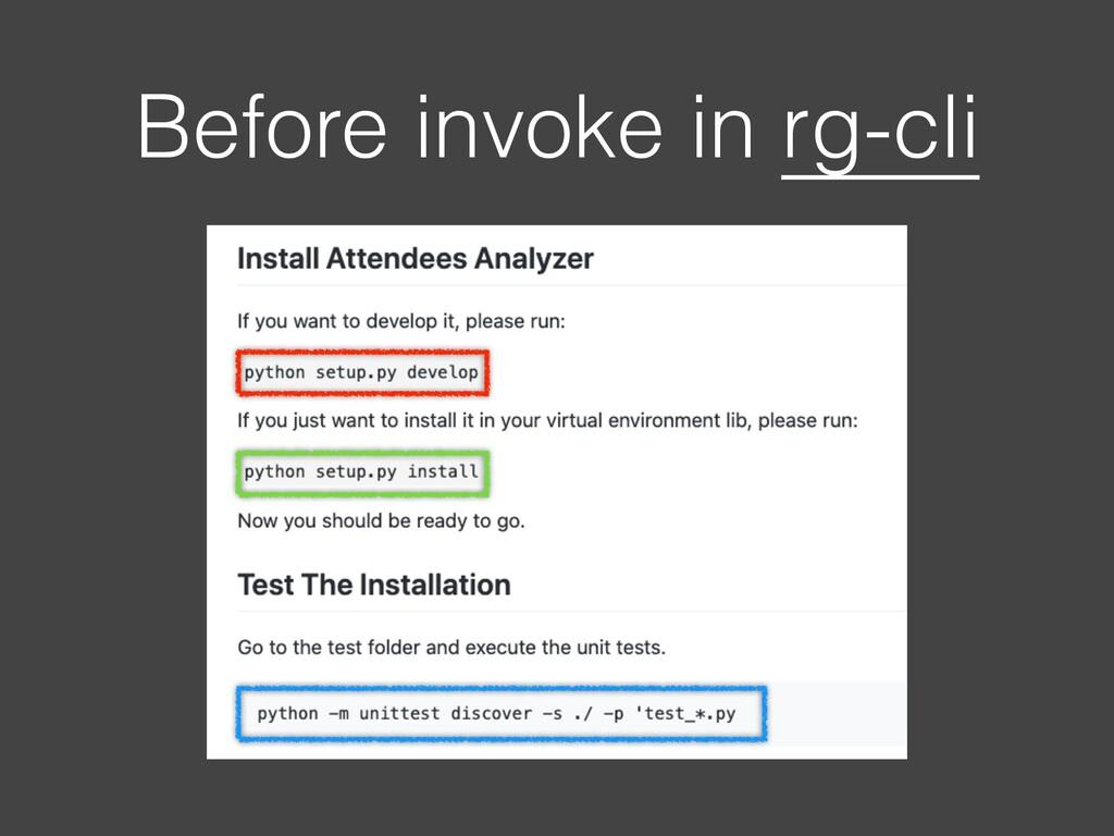 Before invoke in rg-cli
