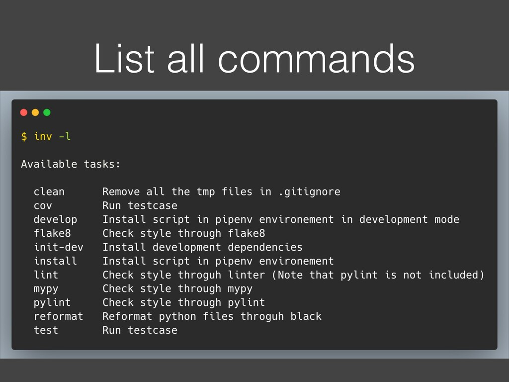 List all commands
