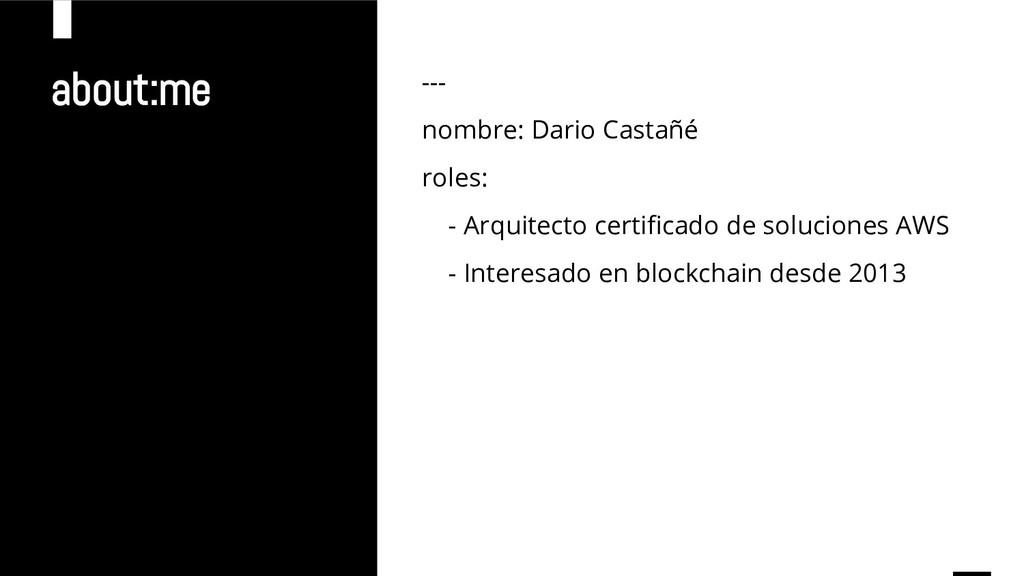 about:me --- nombre: Dario Castañé roles: - Arq...