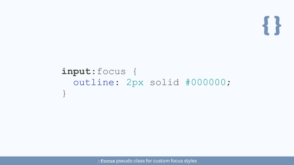 { } input:focus { outline: 2px solid #000000; }...