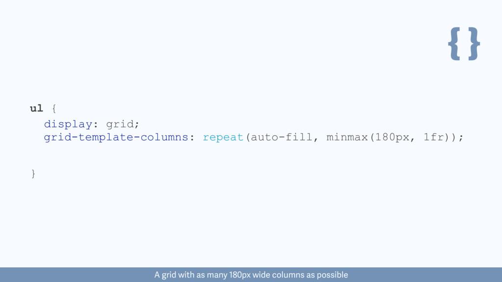 { } ul { } display: grid; grid-template-columns...