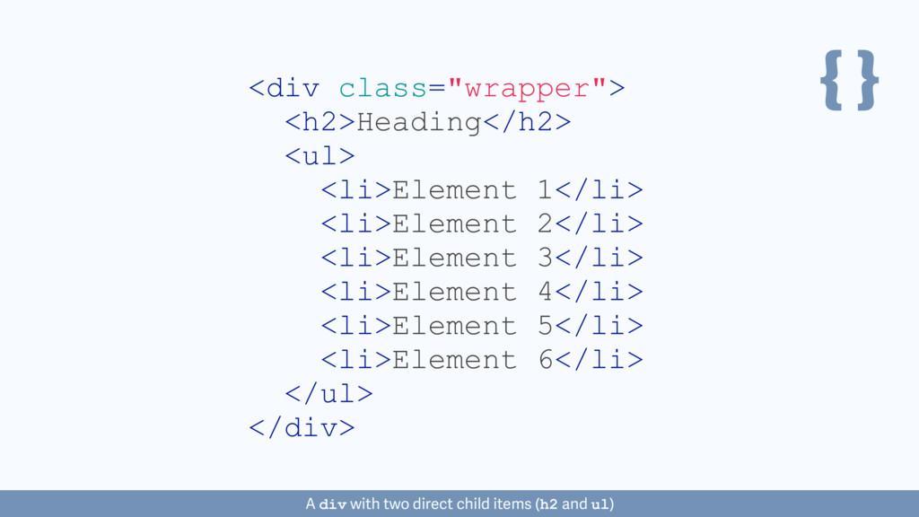 "{ } <div class=""wrapper""> <h2>Heading</h2> <ul>..."