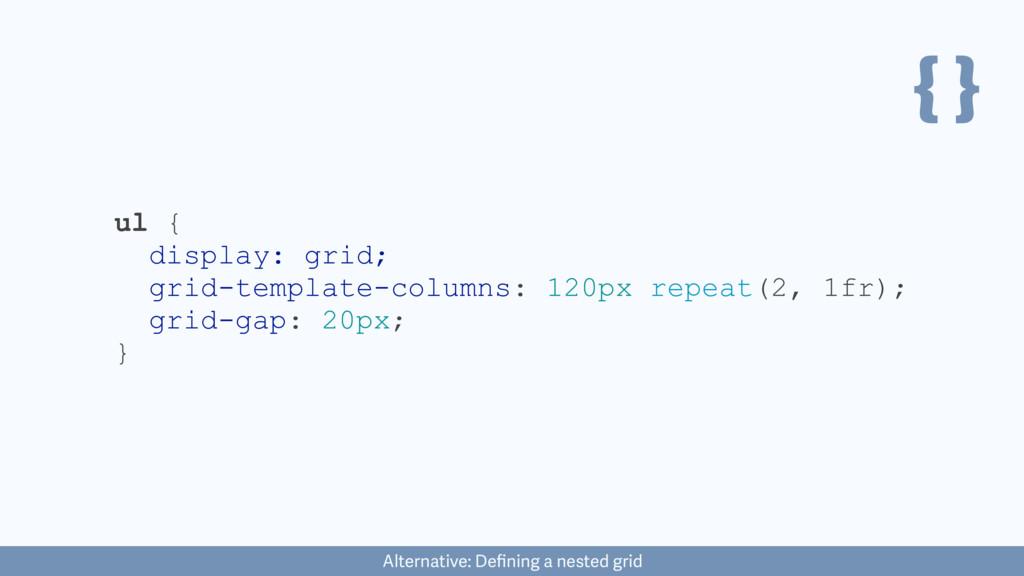 { } ul { display: grid; grid-template-columns: ...