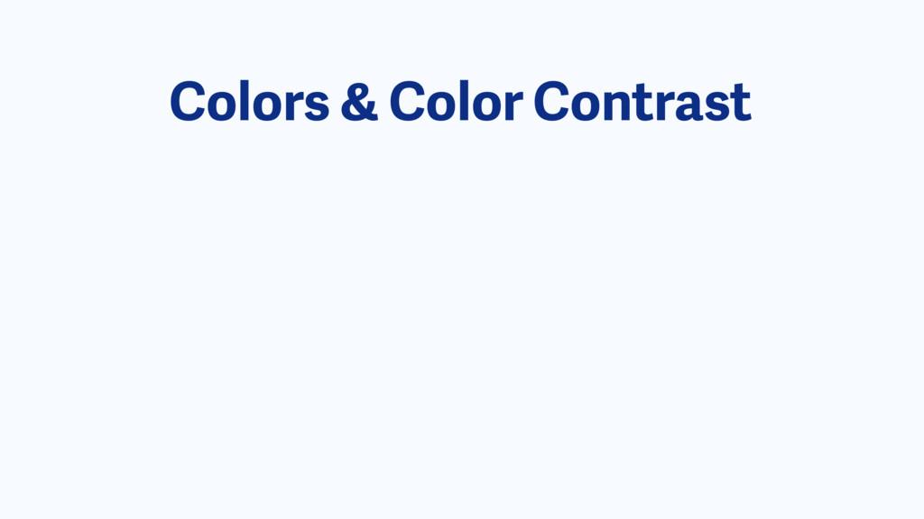 Colors & Color Contrast