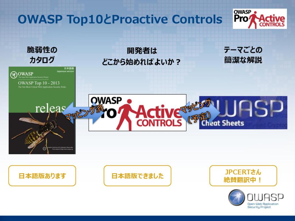 OWASP Top10とProactive Controls 脆弱性の カタログ 開発者は ど...