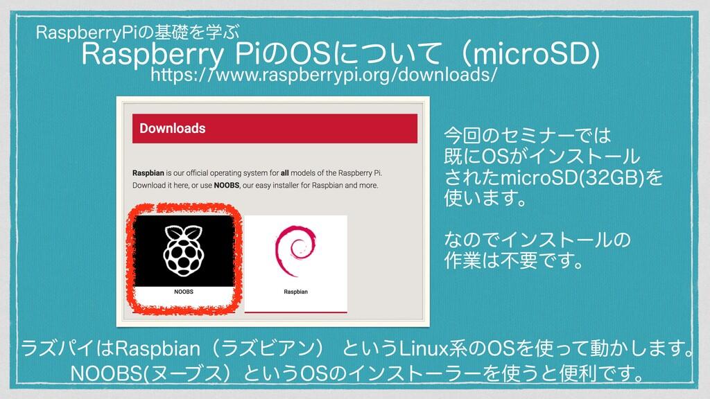 https://www.raspberrypi.org/downloads/ ࠓճͷηϛφʔͰ...