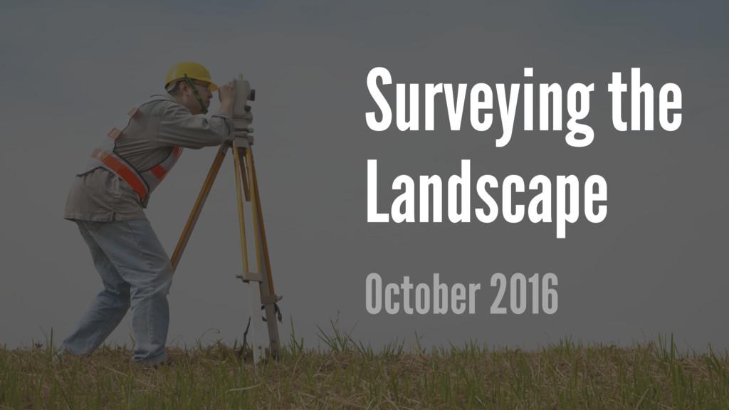 Surveying the Landscape October 2016