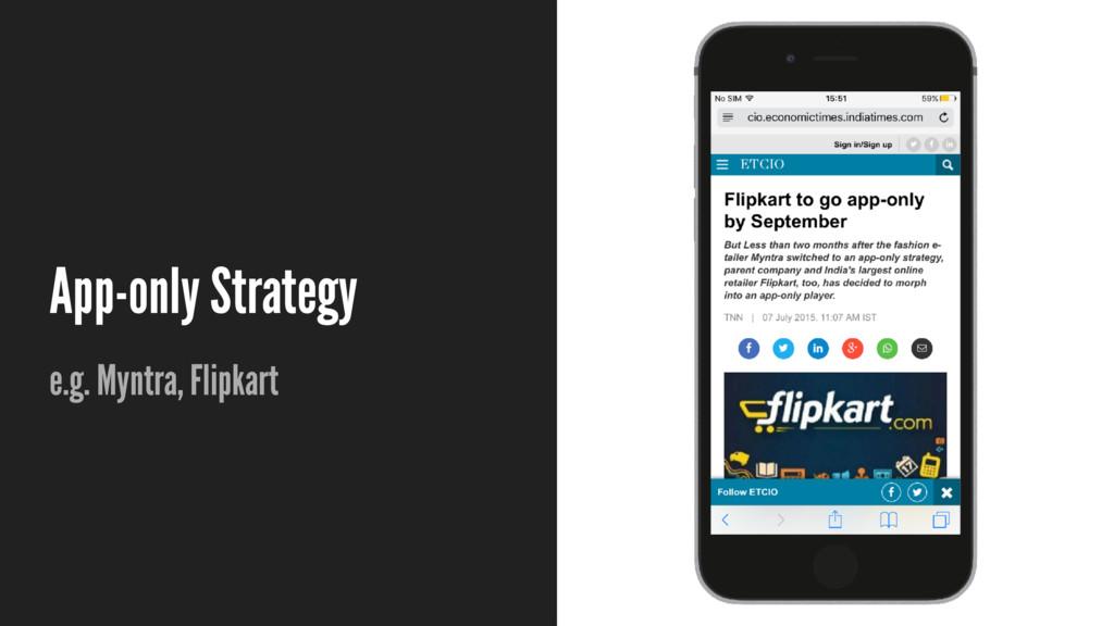 App-only Strategy e.g. Myntra, Flipkart