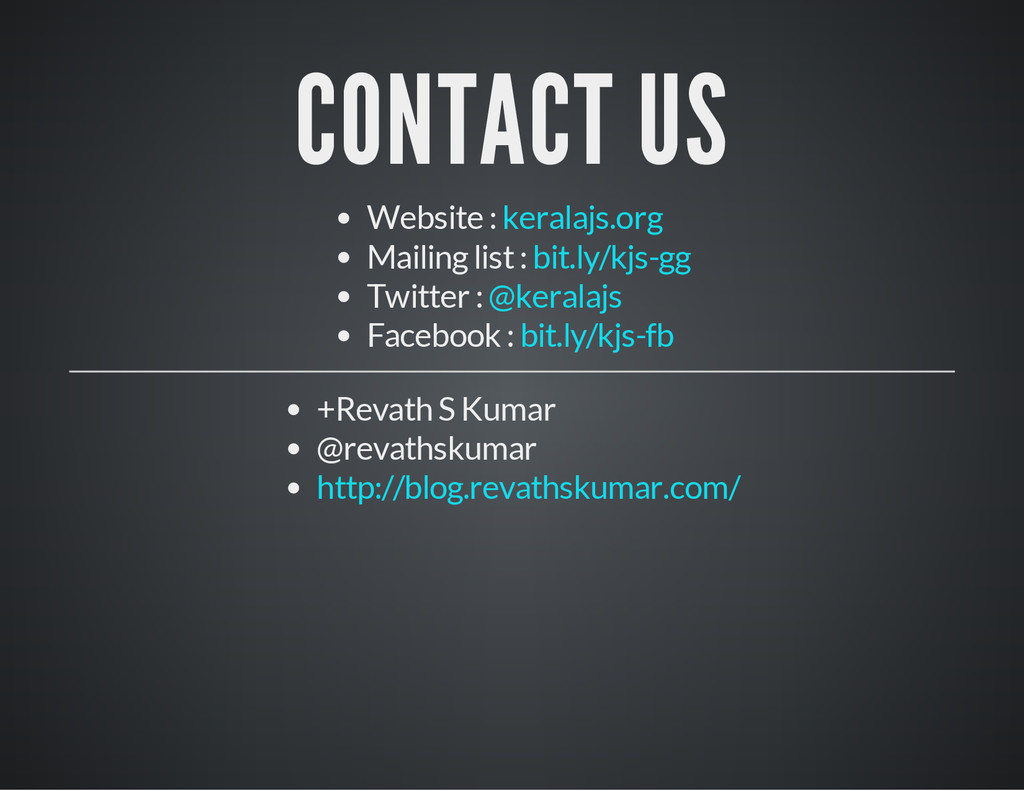 CONTACT US Website : Mailing list : Twitter : F...