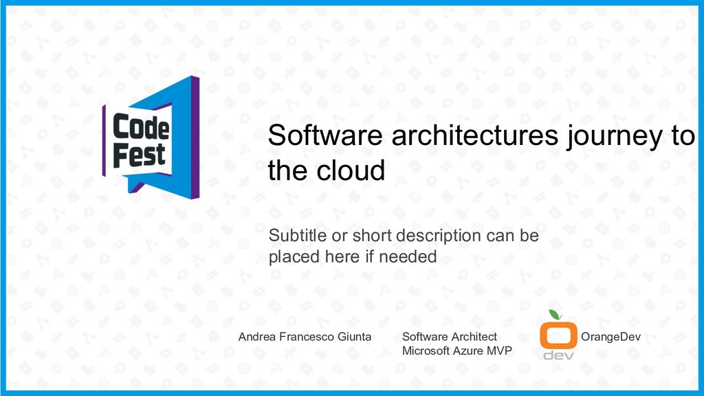 Software architectures journey to the cloud Sub...
