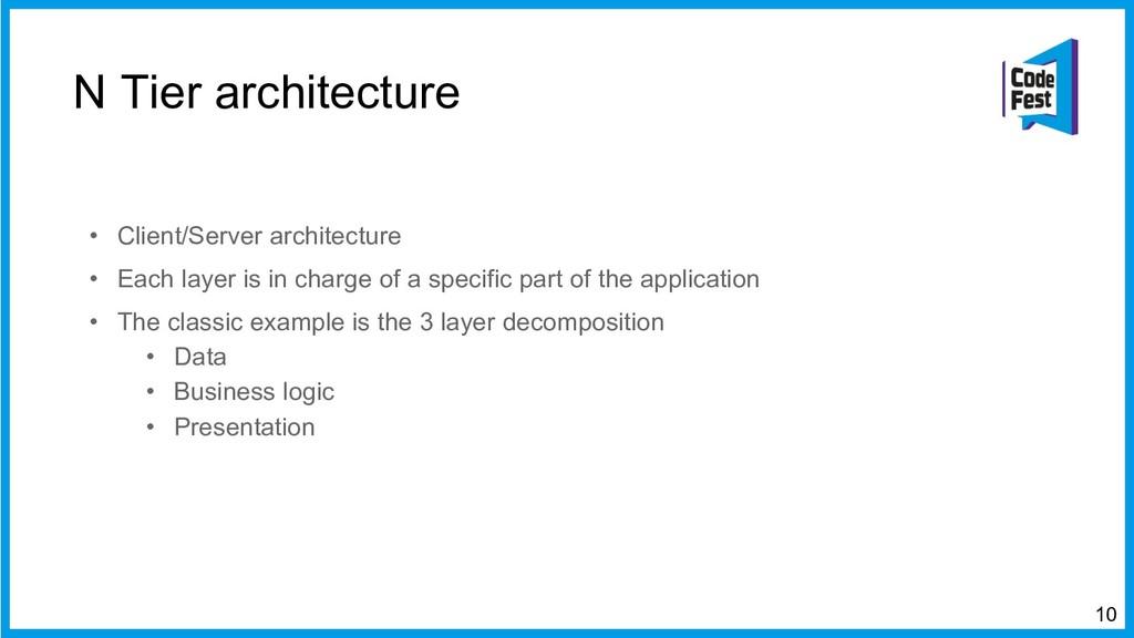 N Tier architecture • Client/Server architectur...