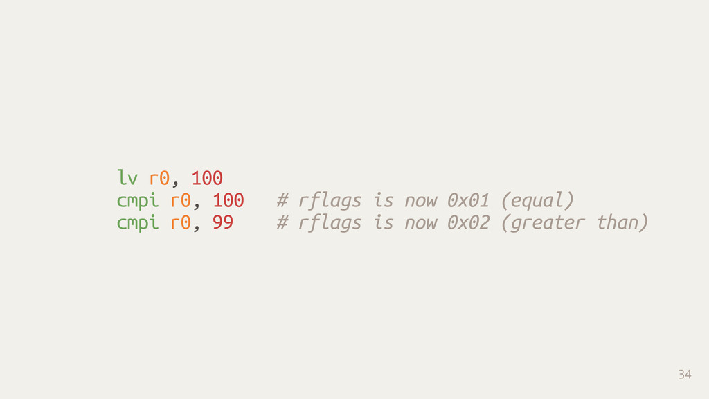 lv r0, 100 cmpi r0, 100 # rflags is now 0x01 (e...