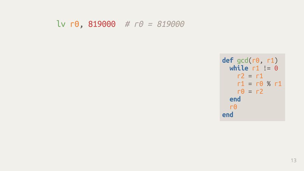 lv r0, 819000 # r0 = 819000 13 def gcd(r0, r1) ...