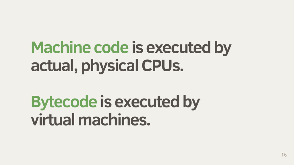 Machine code is executed by actual, physical CP...