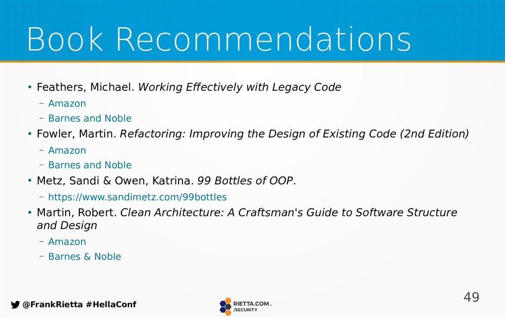 49 @FrankRietta #HellaConf Book Recommendations...