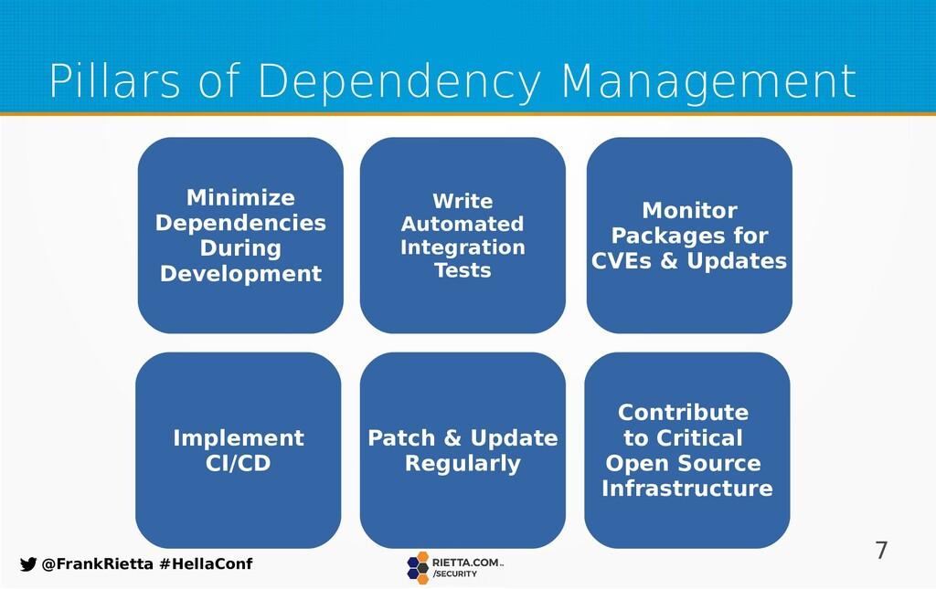 7 @FrankRietta #HellaConf Pillars of Dependency...
