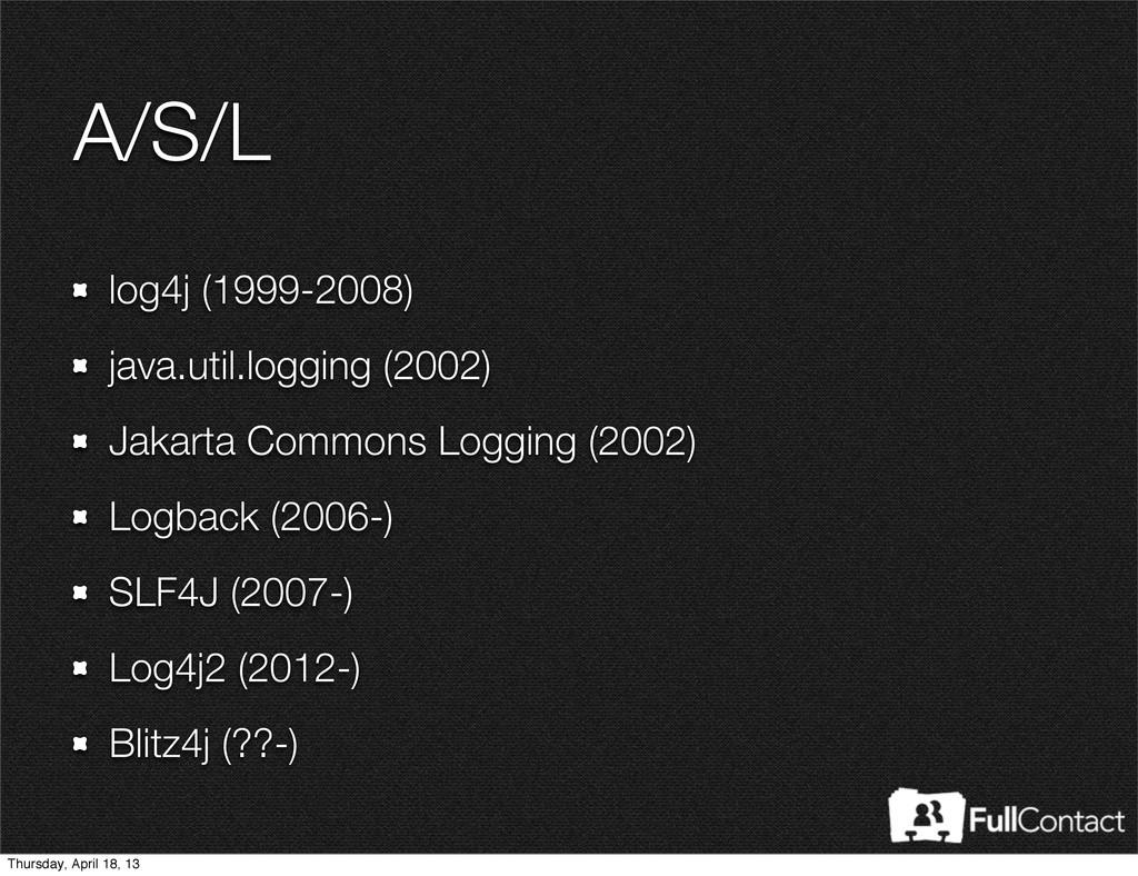 A/S/L log4j (1999-2008) java.util.logging (2002...