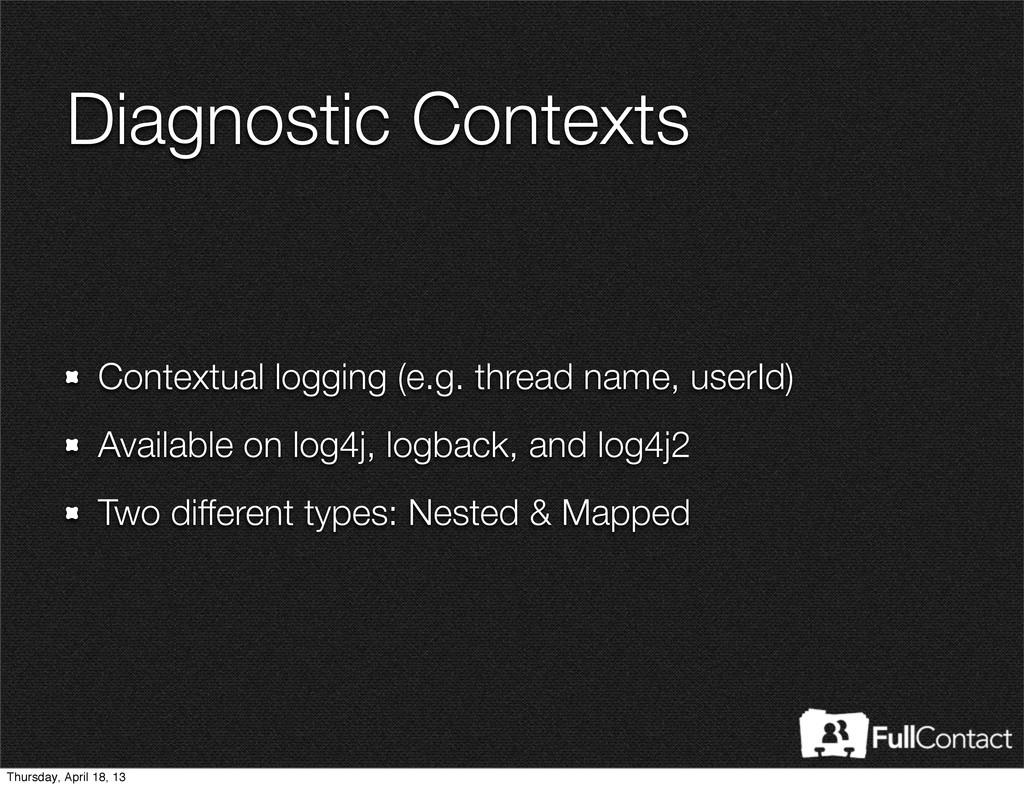 Diagnostic Contexts Contextual logging (e.g. th...