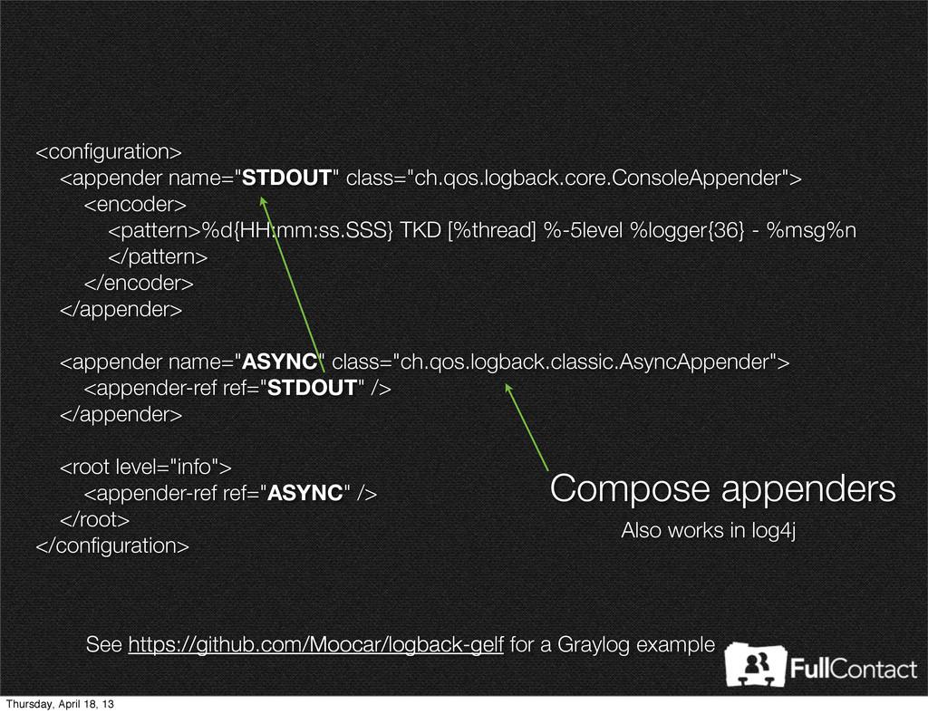 """<configuration> <appender name=""""STDOUT"""" class=""""c..."""