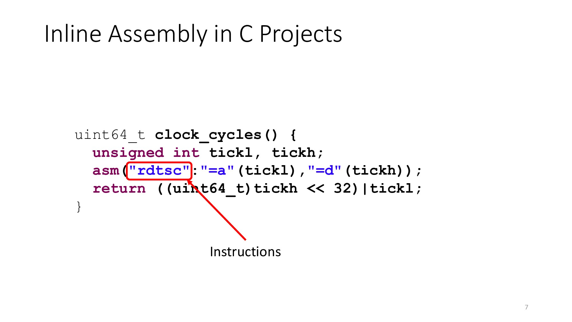 Inline Assembly in C Projects 7 uint64_t clock_...