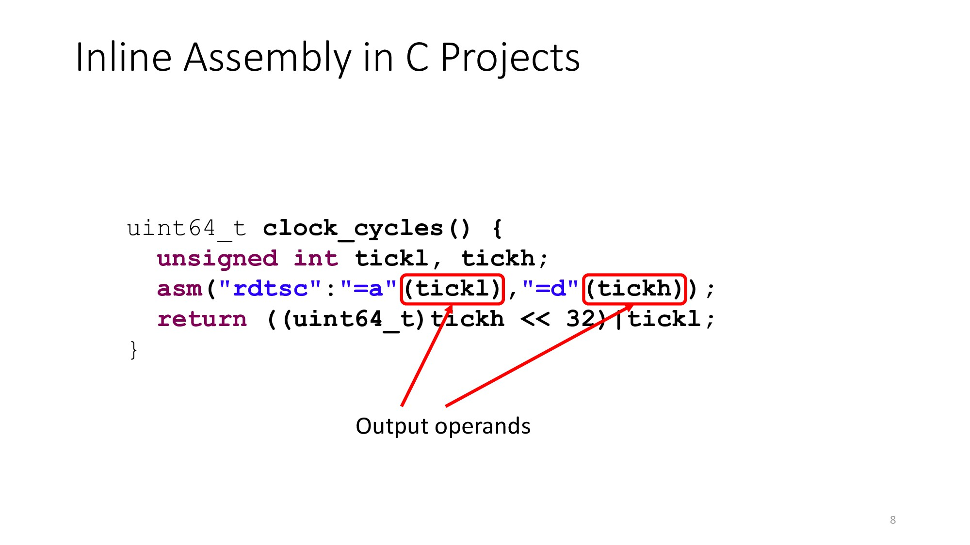 Inline Assembly in C Projects 8 uint64_t clock_...