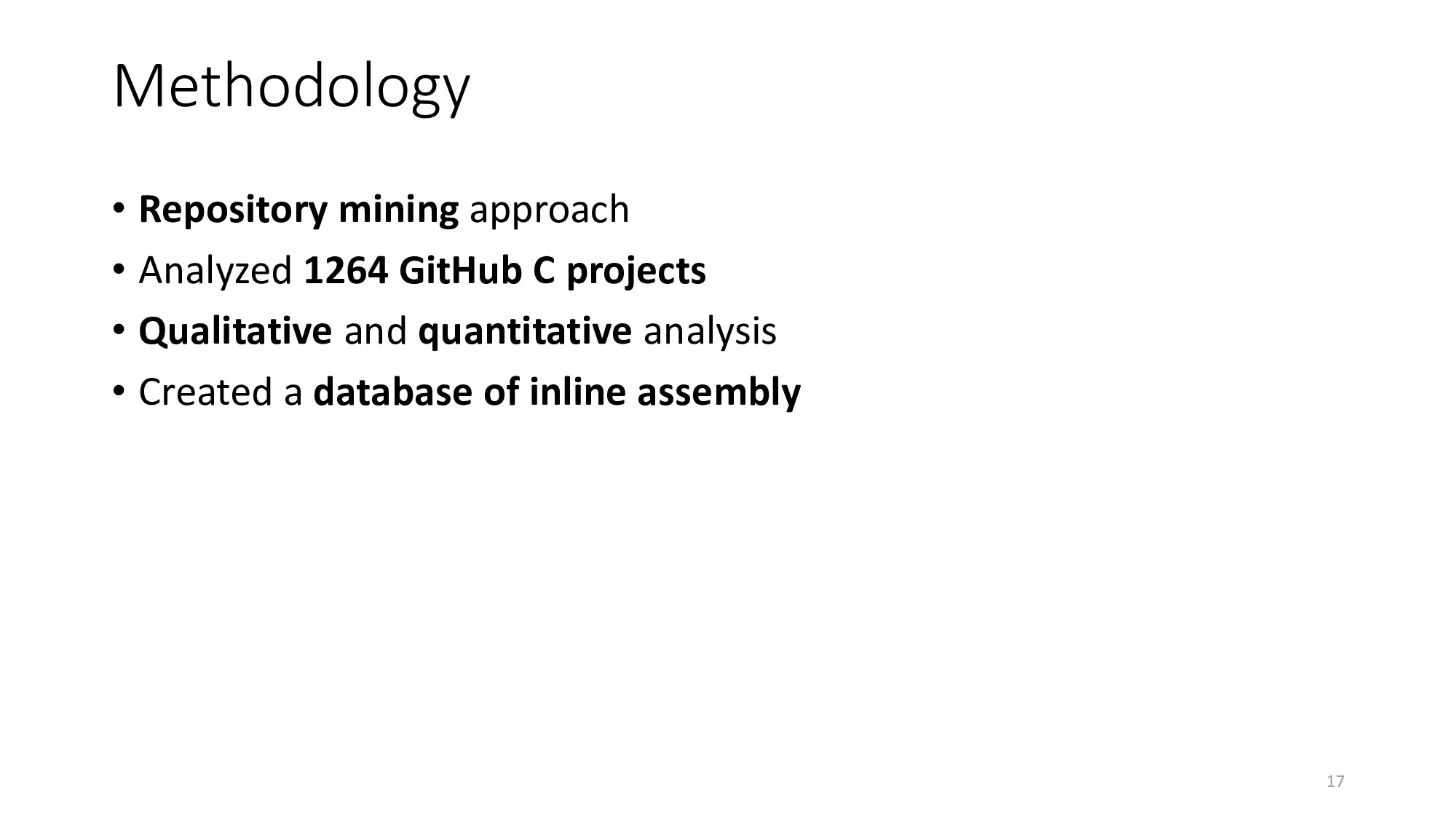 Methodology • Repository mining approach • Anal...