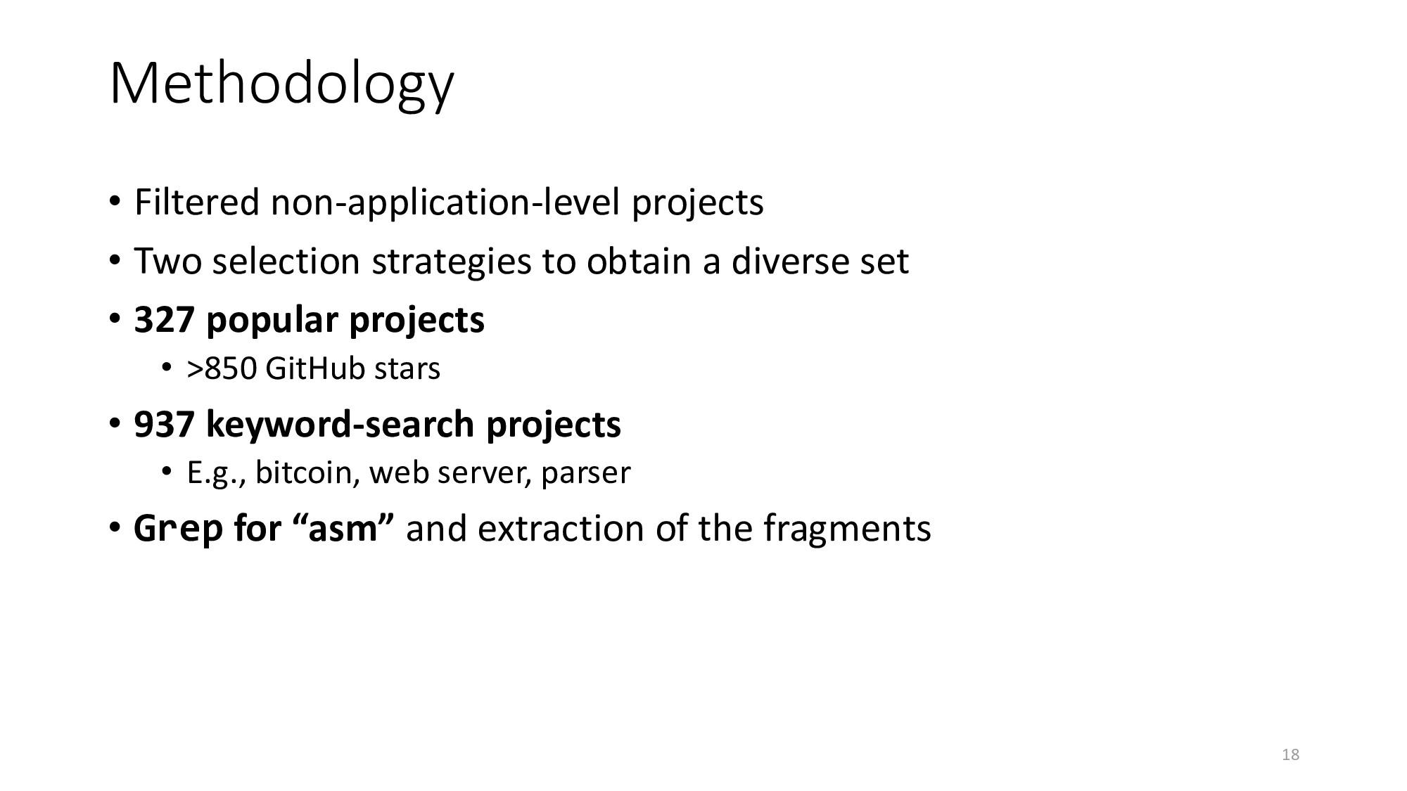 Methodology • Filtered non-application-level pr...