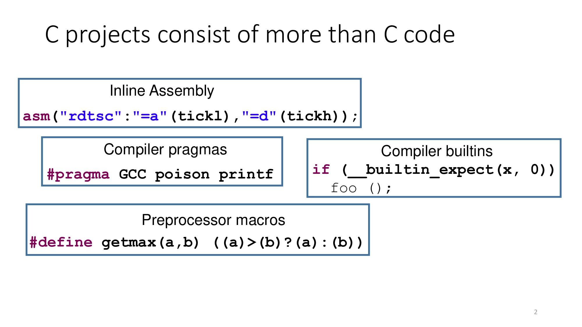 "2 if (__builtin_expect(x, 0)) foo (); asm(""rdts..."