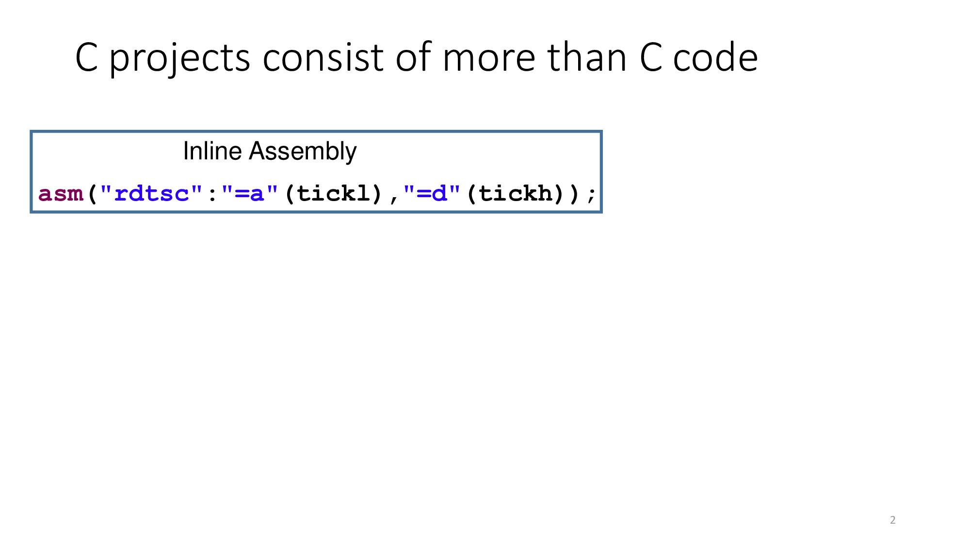 "2 asm(""rdtsc"":""=a""(tickl),""=d""(tickh)); Inline ..."