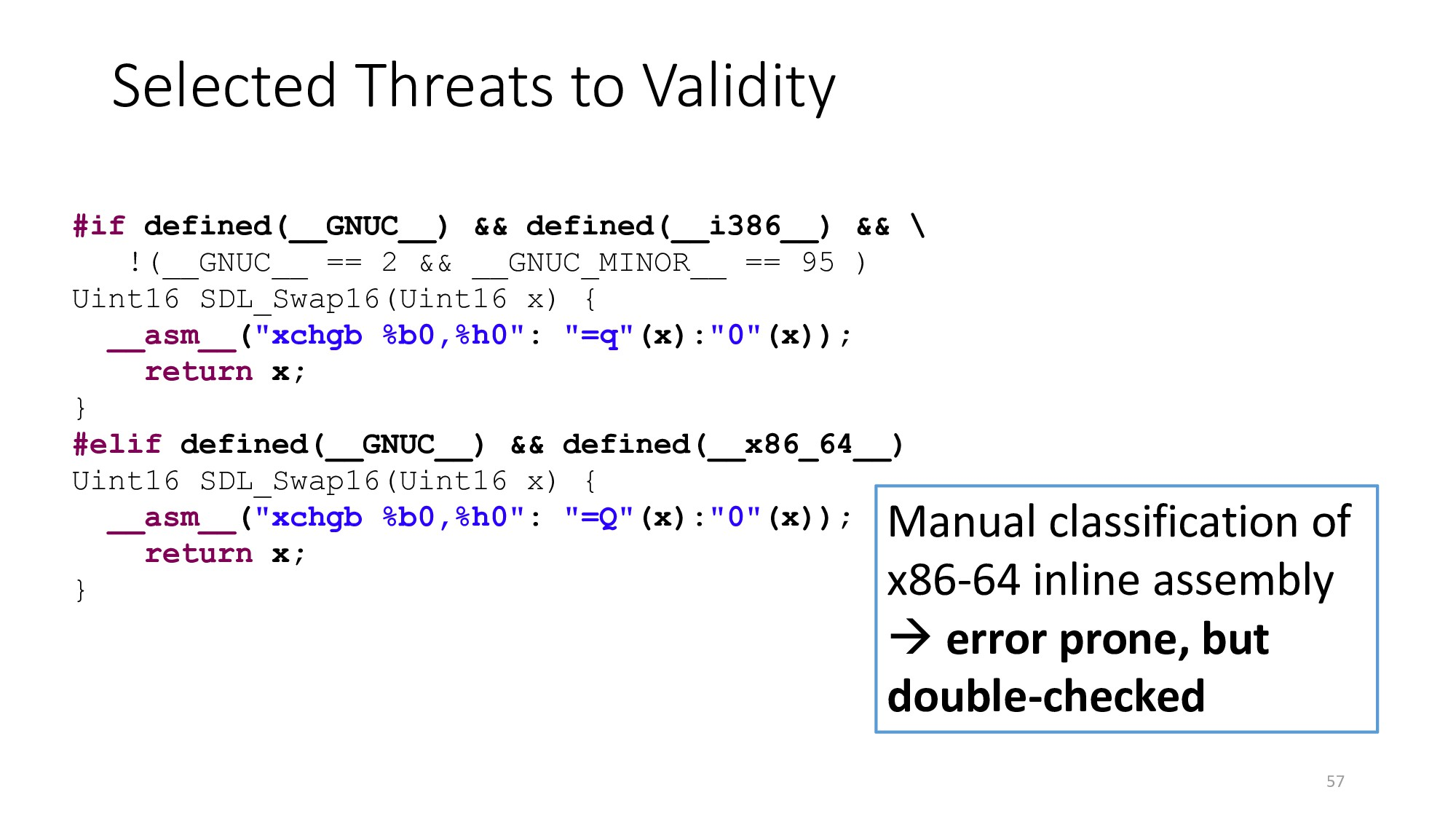 Selected Threats to Validity 57 Manual classifi...
