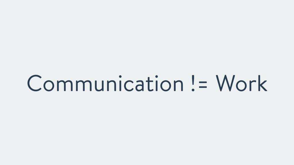 Communication != Work