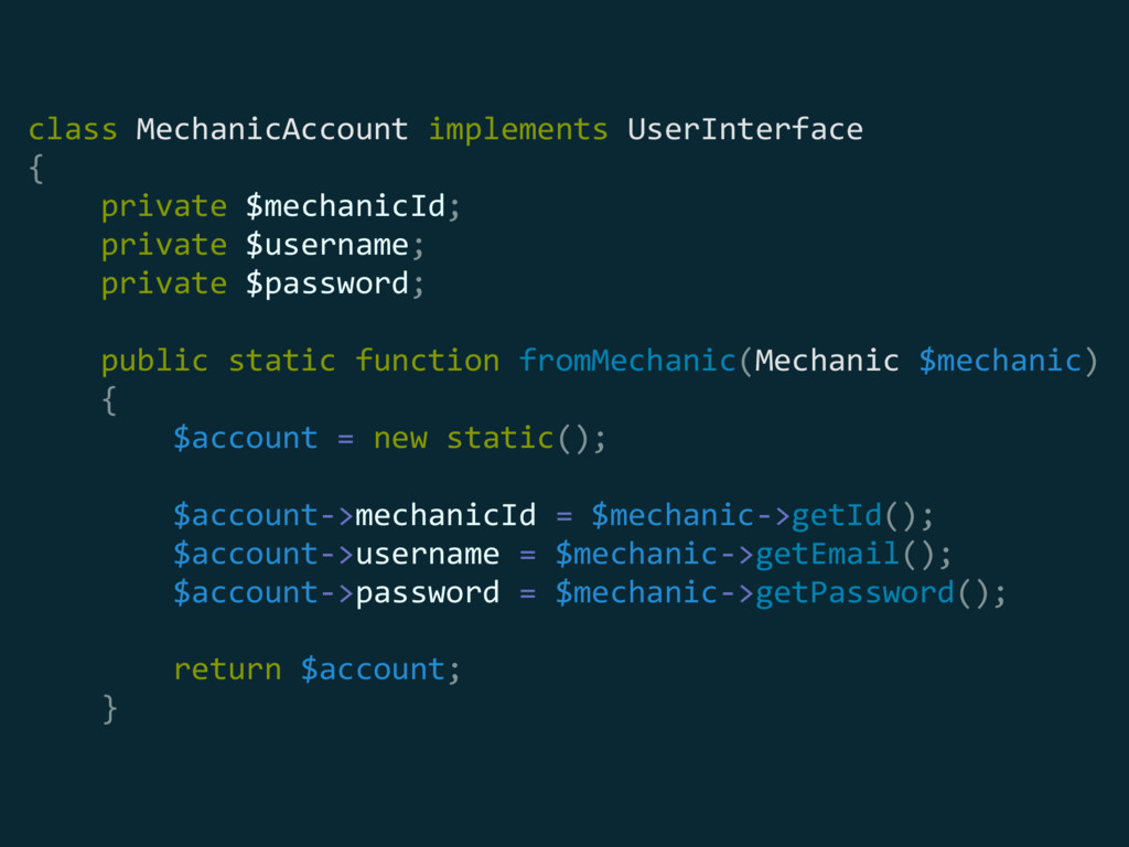 class MechanicAccount implements UserInterface
