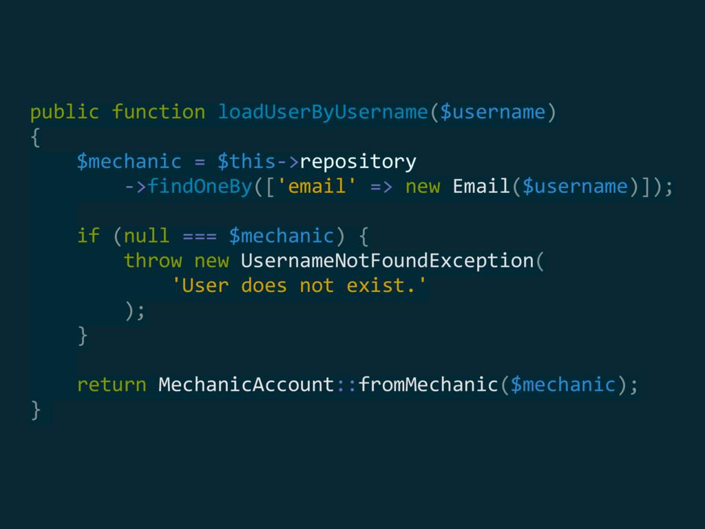 public function loadUserByUsername($username) ...