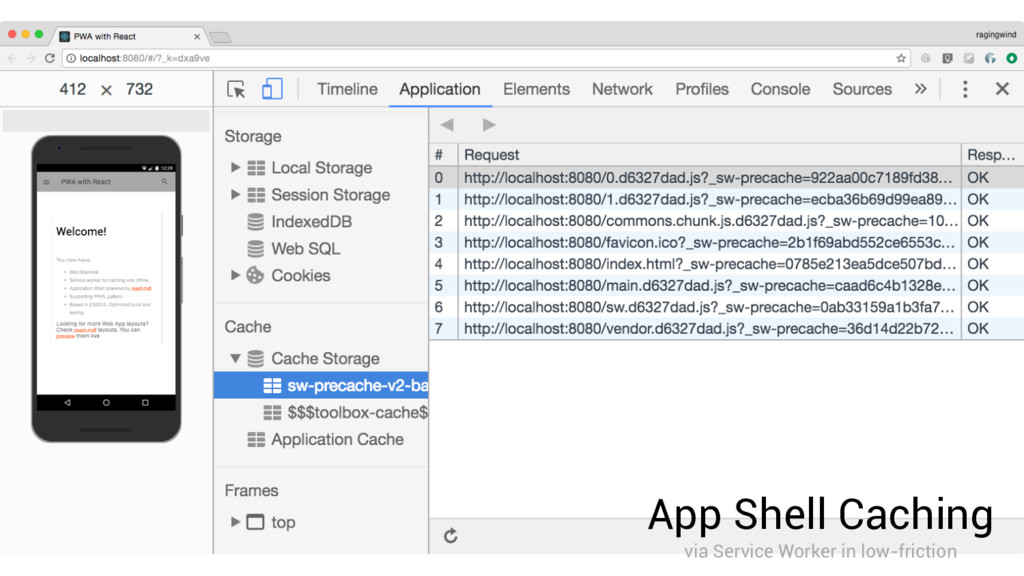 App Shell Caching via Service Worker in low-fri...