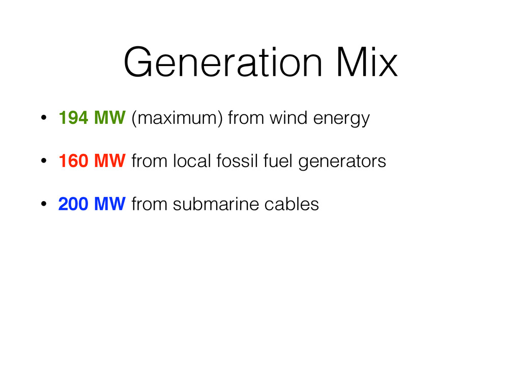 Generation Mix • 194 MW (maximum) from wind ene...