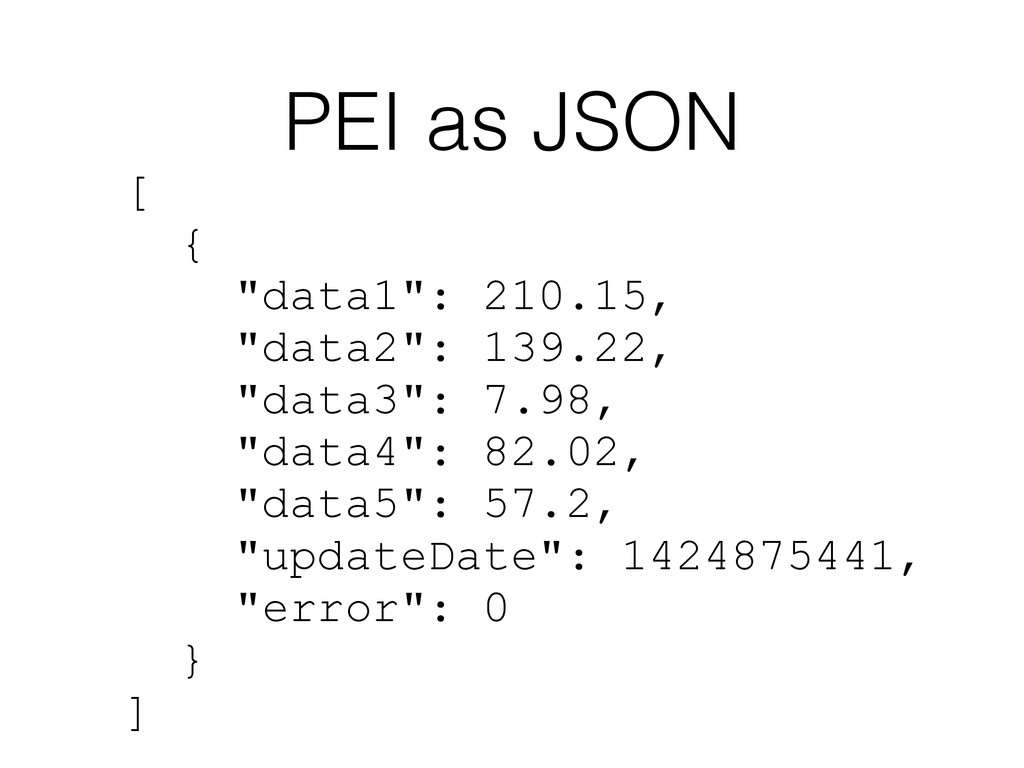 "PEI as JSON [ { ""data1"": 210.15, ""data2"": 139.2..."