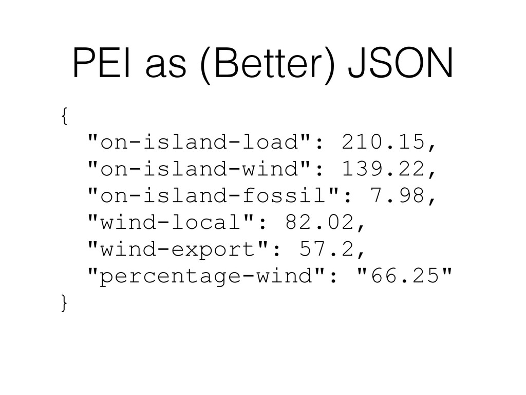 "PEI as (Better) JSON { ""on-island-load"": 210.15..."