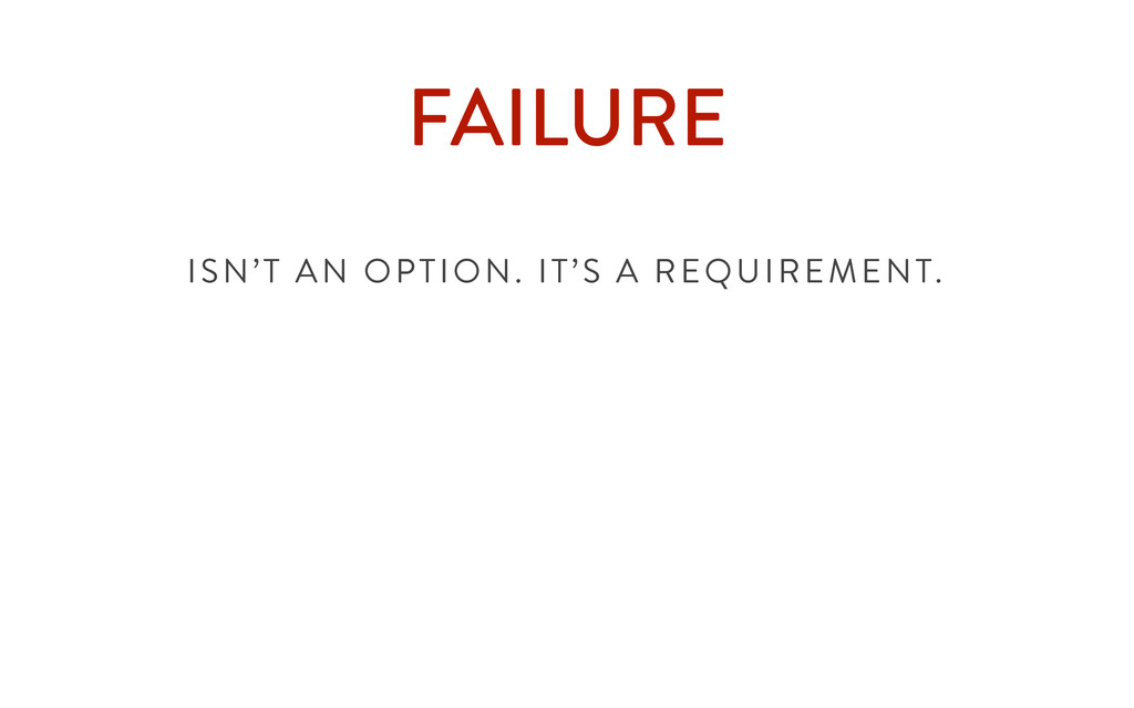 FAILURE ISN'T AN OPTION. IT'S A REQUIREMENT.