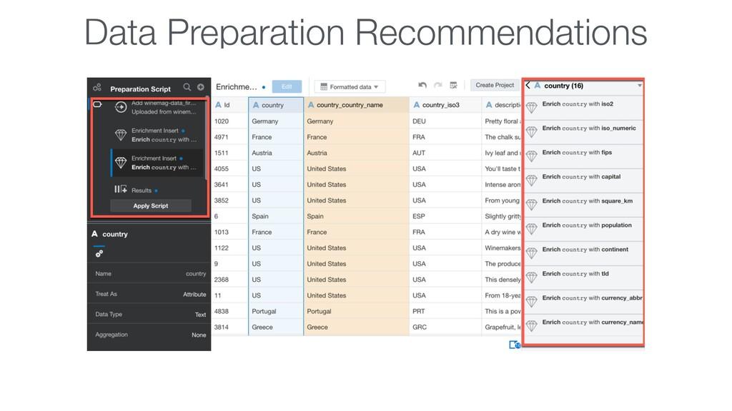 Data Preparation Recommendations