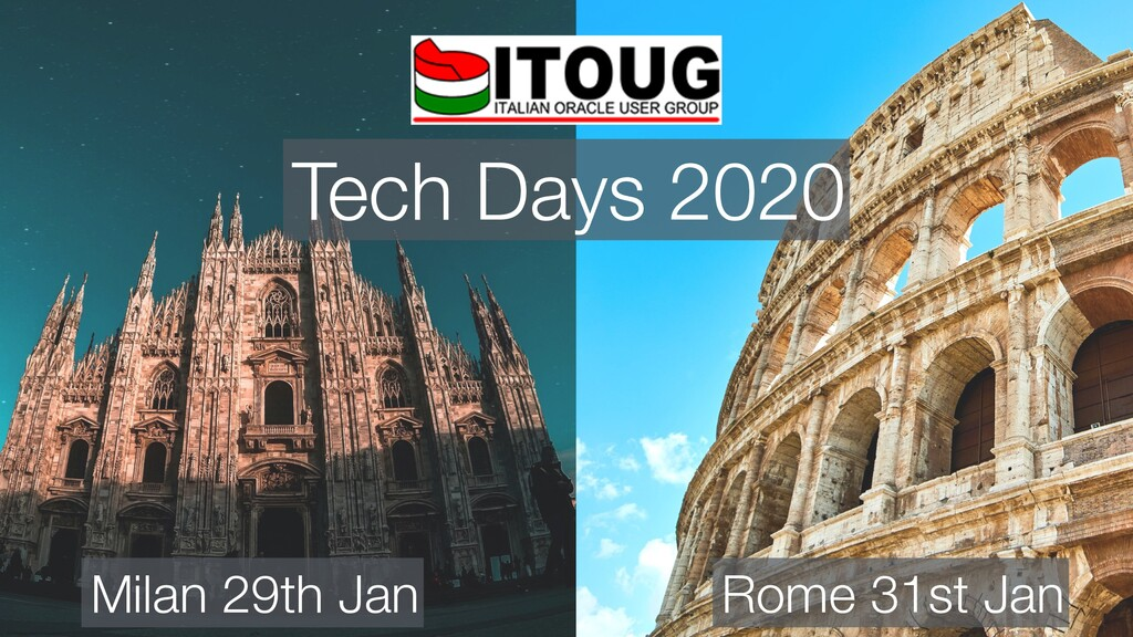 Tech Days 2020 Milan 29th Jan Rome 31st Jan