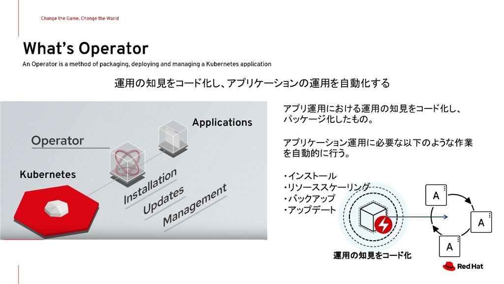 運用の知見をコード化し、アプリケーションの運用を自動化する アプリ運用における運用の知見をコー...
