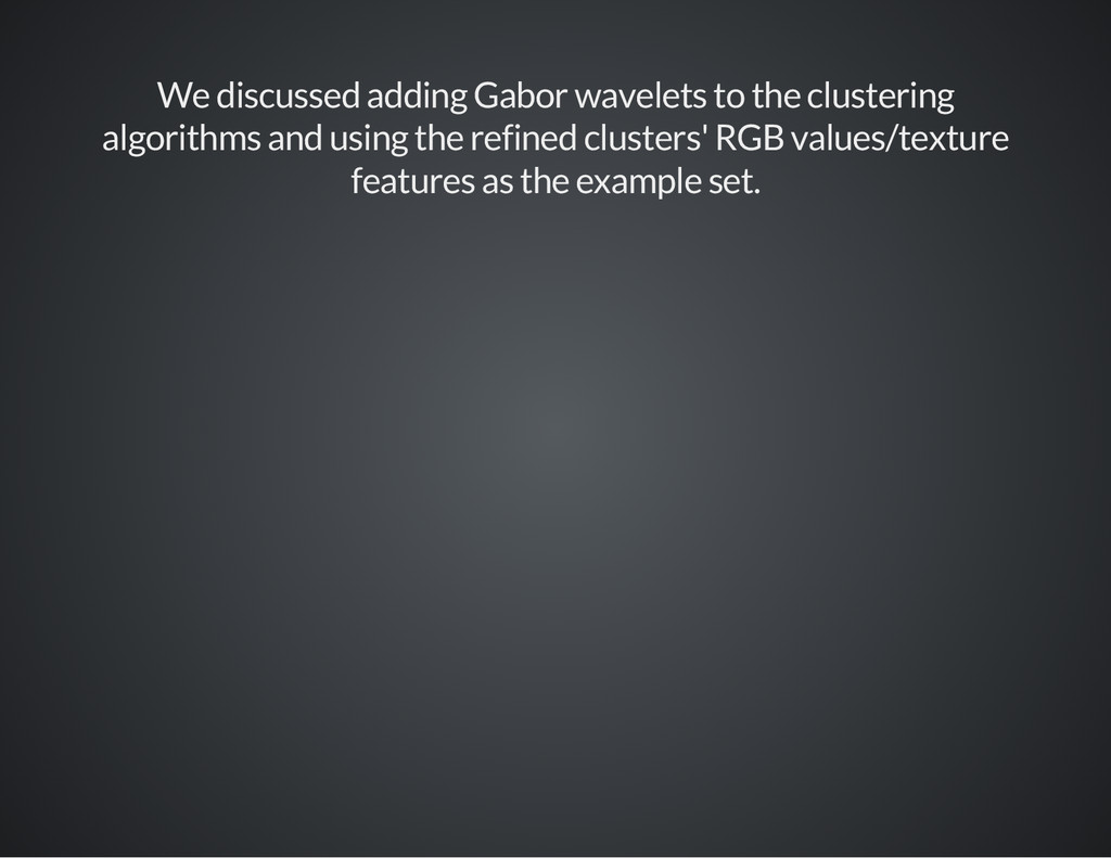 We discussed adding Gabor wavelets to the clust...